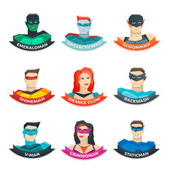 Superhero avatars collection vector