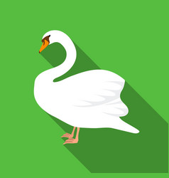 swan icon in flate style isolated on white vector image