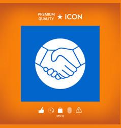 Symbol of handshake in circle icon vector