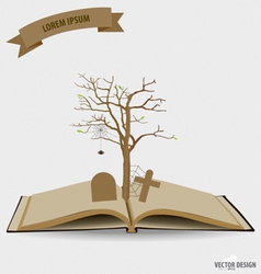 Tree on opened book vector