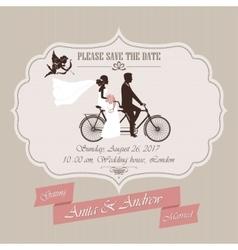 Wedding invitation tandem bicycle vector