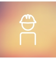 Worker wearing hard hat thin line icon vector image