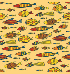 yellow pattern with shoal of fishes vector image