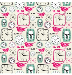 Retro birds Clocks Pattern vector image