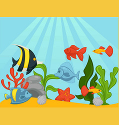 fishes in aquarium or ocean underwater vector image