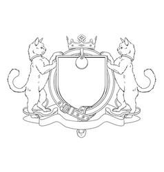 cat pets heraldic shield coat of arms vector image