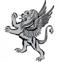 Heraldic symbol lion with wings vector