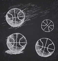 Basketball ball sketch set on blackboard vector