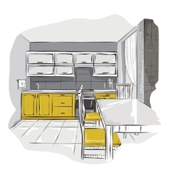 Sketch of kitchen interior vector