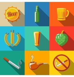 Pub beer flat long shadow icons set with - glass vector