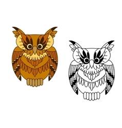 Little cartoon brown owl bird vector image