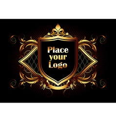 ornamental shield on a black background vector image