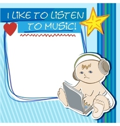 Postcard little kid listening to music vector