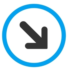 Arrow right-down flat rounded icon vector