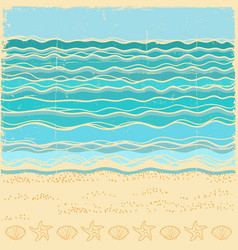 Beach scenevintage sea landscape with blue waves vector