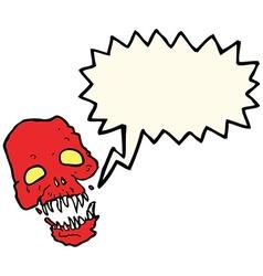 Cartoon scary skull with speech bubble vector