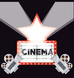 Cinema short film with video camera and reel ecene vector