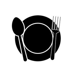 dish with fork and spoon icon vector image vector image