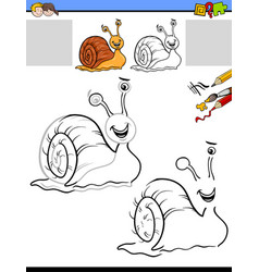 drawing and coloring activity with snail vector image vector image