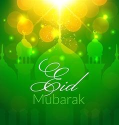 Eid mubarak greeting card with mosque vector