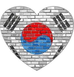 Flag of South Korea on a brick wall in heart shape vector image vector image