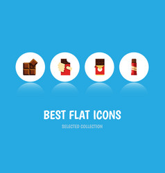 Flat icon sweet set of sweet cocoa shaped box vector