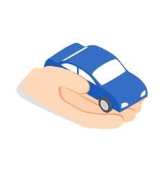 Hand holds machine icon isometric 3d style vector image vector image