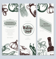 italian food - color hand drawn square flyer vector image vector image