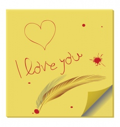 love message on paper note vector image vector image
