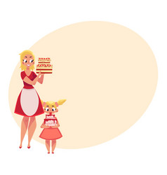 Mother and daughter holding birthday cakes vector