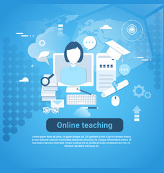 online teaching web banner with copy space on blue vector image vector image