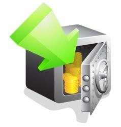 Open bank safe with green arrow vector