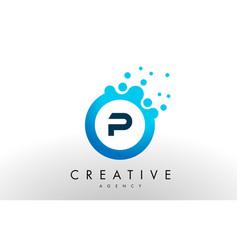 P letter logo blue dots bubble design vector
