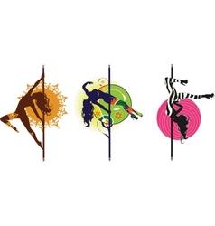 Pole dance logos vector