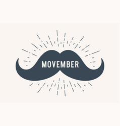 Poster and banner with text movember and mustache vector