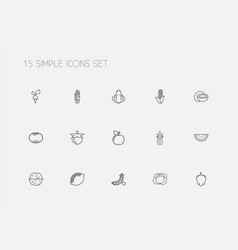 Set of 15 editable vegetable outline icons vector