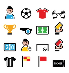 Soccer or football colorful icons set vector image vector image