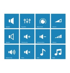 Speaker icons on blue background volume control vector
