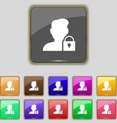 User is blocked icon sign set with eleven colored vector