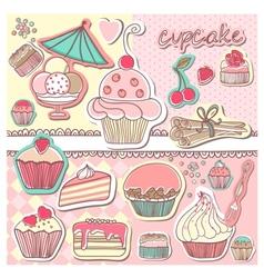Vintage cupcake vector image