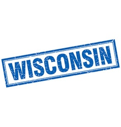 Wisconsin blue square grunge stamp on white vector