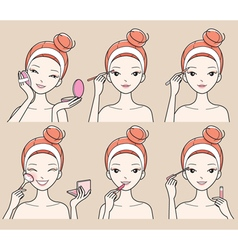 Young Woman Makes Up With Various Actions Set vector image vector image