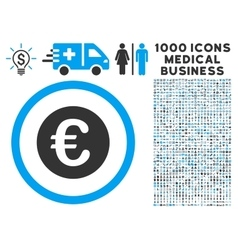 Euro coin icon with 1000 medical business vector