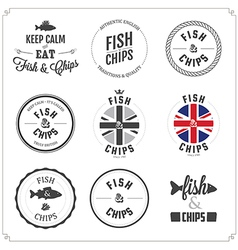 Set of Fish and Chips labels and badges vector image