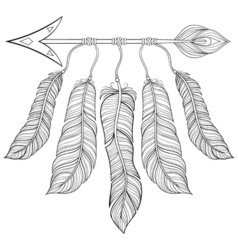 Boho chic ethnic arrow with feathers freedom vector