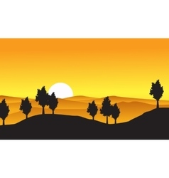 Collection of nature landscape with tree on hill vector