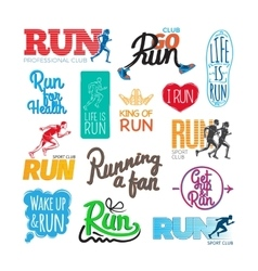 Run icons set inscriptions and pictures of runer vector
