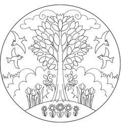 Spring tree mandala vector