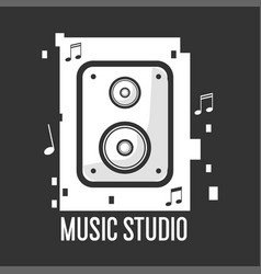 Music studio black and white logotype with vector