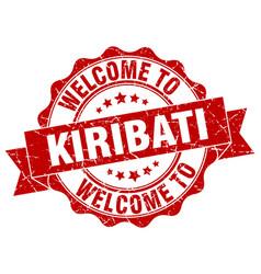 Kiribati round ribbon seal vector